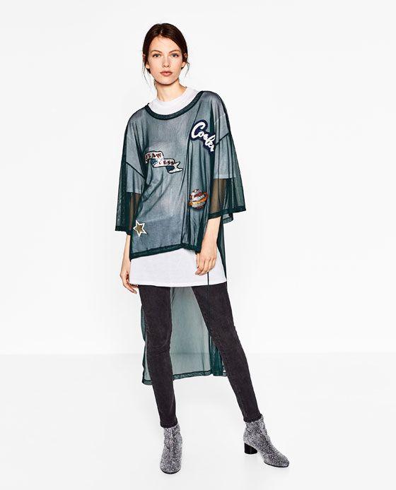 Camiseta De Tul Con Parches De Zara